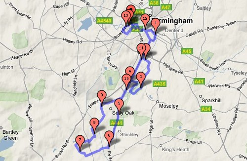 Birmingham Half Marathon 2009 route